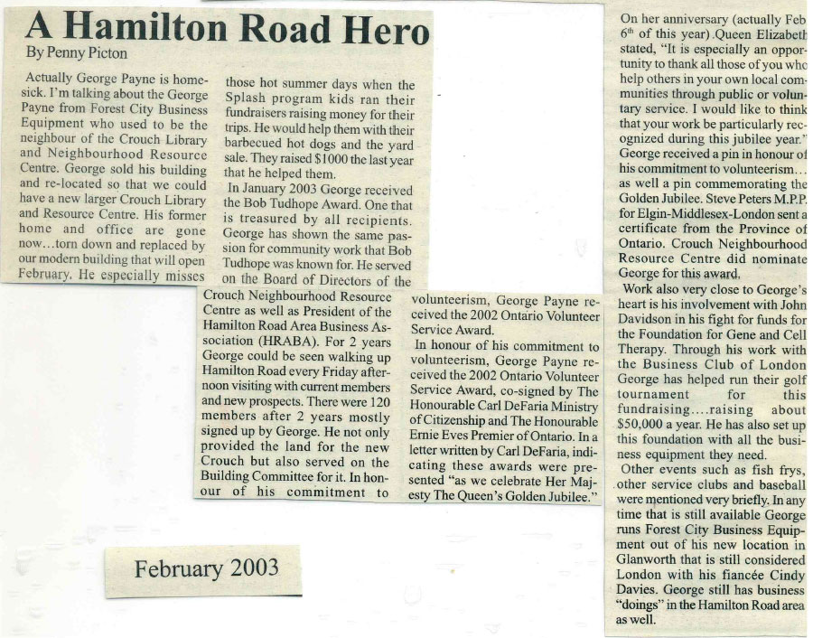 Hamilton Road Hero - London Free Press